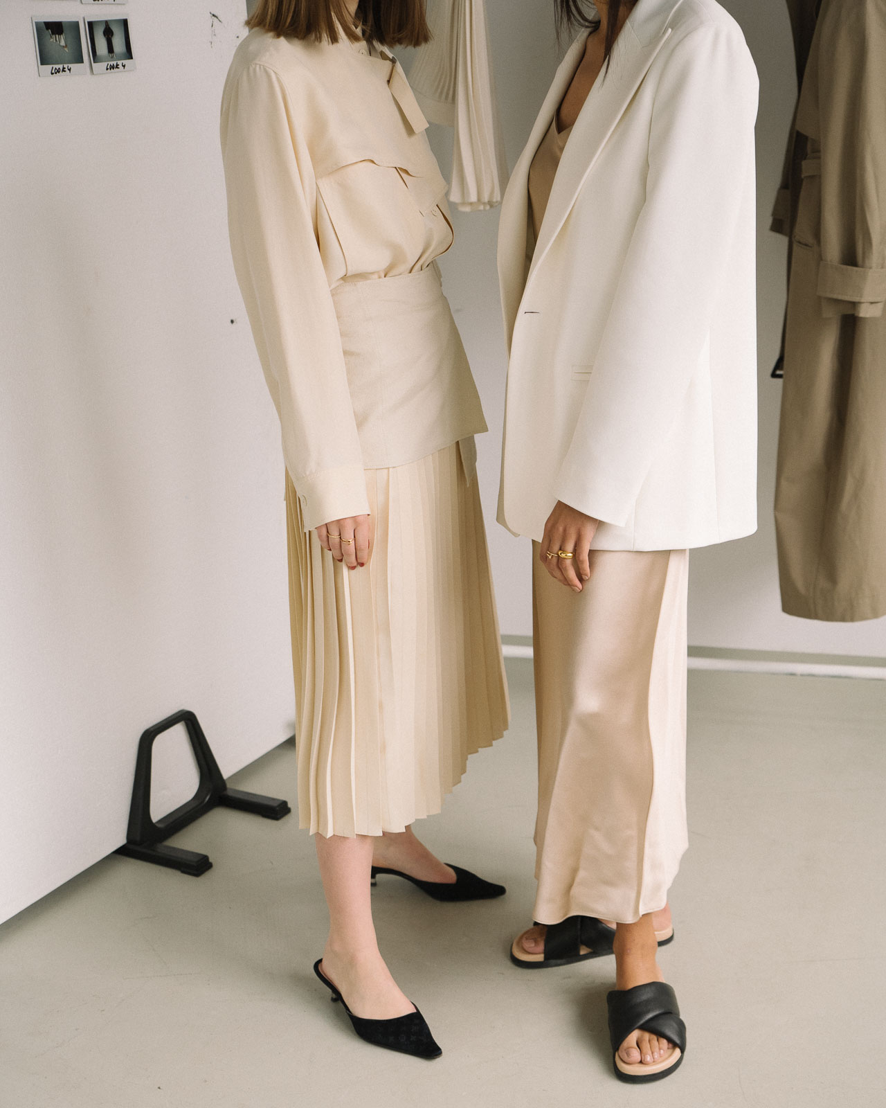 storm wears Stone Silk Satin Dress from Joseph SS19 collection and Swantje Soemmer wears Billie Boucle Fuji Silk Skirt shot by Marius Knieling