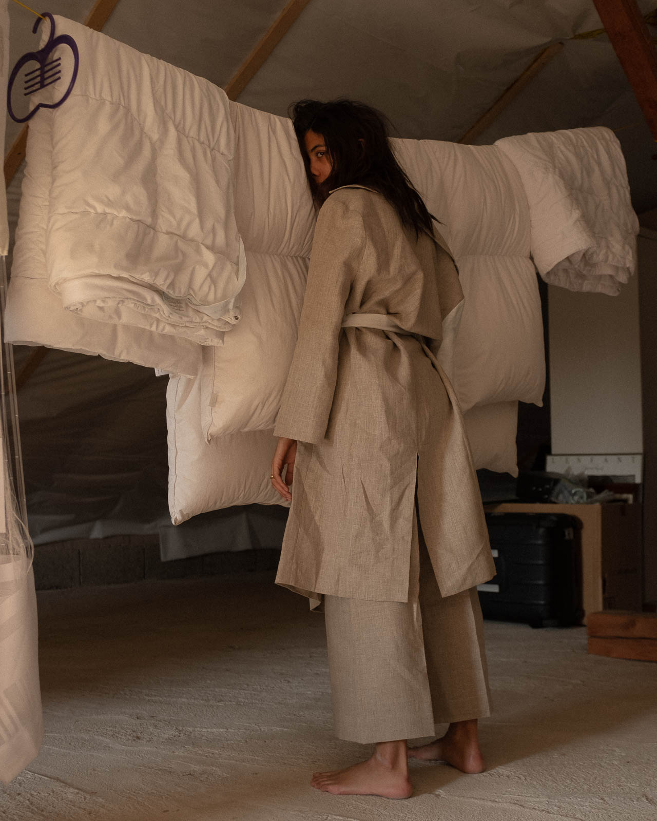 storm wears lara krude ss19 mabel pants with hazel linen coat