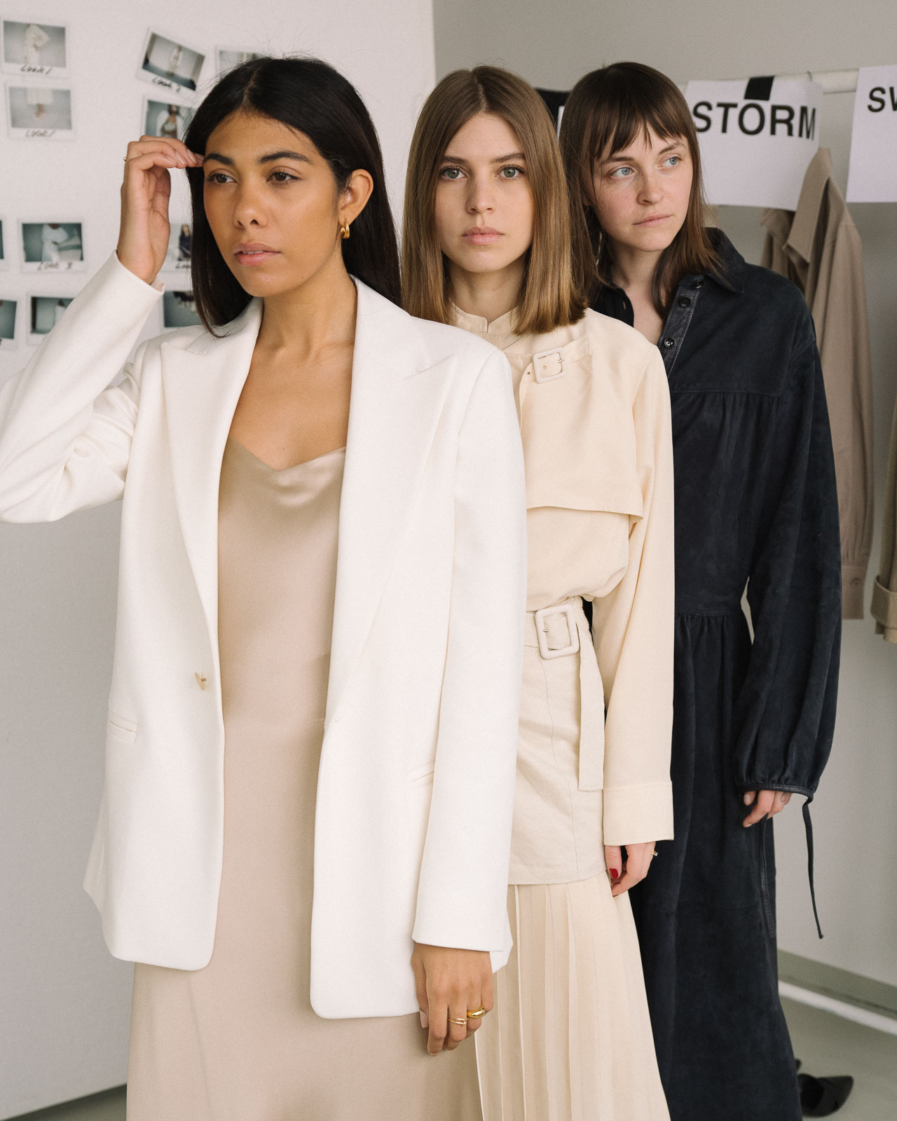storm wears joseph SS19 Sommer collection with Trenton Jacket and Stone Silk Satin Dress, Swantje wears Tally Fuji Silk Blouse and Sissi Pohle wears Claudia Suede Dress