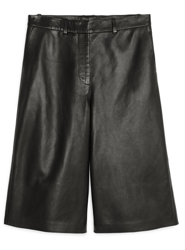 arket leather culottes in black