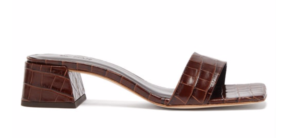 courtney square-toe crocodile-effect leather mules BY FAR in brown