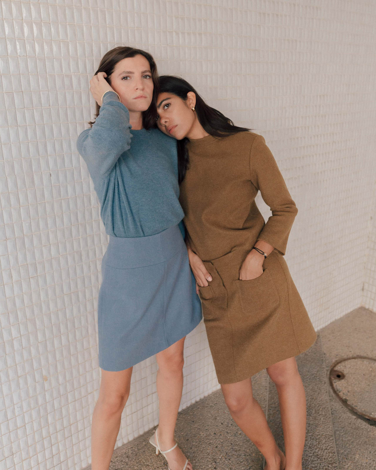 storm wears jakes set Liberta wears light blue cashmere sweater in tel aviv